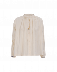 CHEEKY: Stand collar shirt in cream cotton