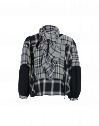 ABOVE-ALL: Wide neck navy, grey check top with cupro sleeves