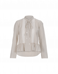 LIKEWISE: Beige grey stripe shirt with frill hem