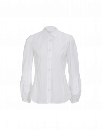 REJOICE: White cotton shirt with lace sleeve detail