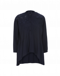PORTRAY: Long, full hem shirt in rayon with embroidered lace