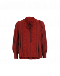 MEMORY: Tie neck shirt in deep red rayon and ribbon lace