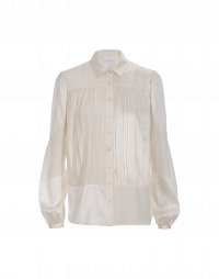 MAIDEN: Multi-panel matt and shine shirt in ivory silk crêpe