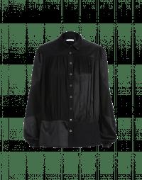 MAIDEN: Multi-panel matt and shine shirt in black crêpe