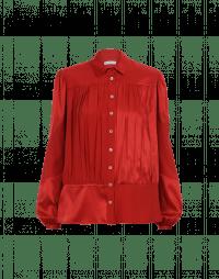 MAIDEN: Multi-panel matt and shine shirt in red silk crêpe