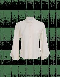 DEBATE: Camicia color avorio in seta con maniche drappeggiate