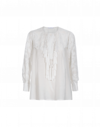 ANGELIC: Top in Ivory silk with tassels