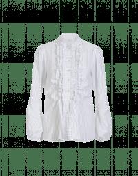 BLINK: Ruffle shirt in grey striped white cotton