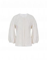 BREATHLESS: Very wide cream self-stripe shirt