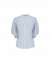 DUO: Pale blue and white stripe shirt with 3/4 sleeves
