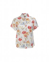 FLORA: Fresh red floral print shirt
