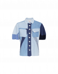 PROVOKE: Camicia in patchwork di denim e cupro