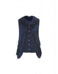 ENJOY: Tie-dye navy blue rosette trimmed silk shirt
