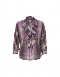 BONNIE: Pink check frill front blouse