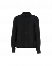 SPECIFY: Black button-down shirt with lace collar