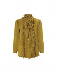 FOP: Blusa con fiocco e balze color senape