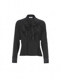 LIZST: Camicia in seta nera con doppio nodo frontale