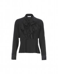 LIZST: Black double tie front silk shirt
