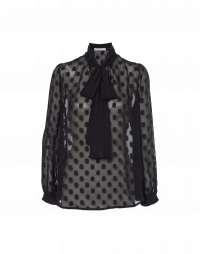 TIED UP: Tie neck shirt in black polka dot fil coupé