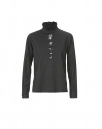 PROLOGUE: Grey high neck embroidered blouse