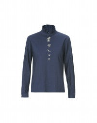 PROLOGUE: Blue high neck embroidered blouse