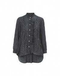IMPLY: Navy and white polka dot blouse with side front frill