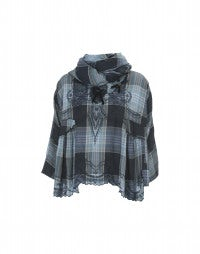 CABRIOLE: Blue check cotton top and scarf ensemble