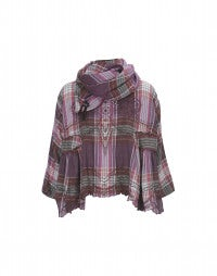 CABRIOLE: Pink check cotton top and scarf ensemble