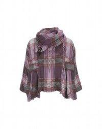 CABRIOLE: Top in cotone scozzese rosa con sciarpa abbinata