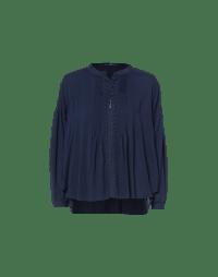 CAROUSE: Camicia blu con pieghe e pizzo