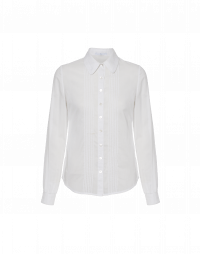 MERCY: Round collar shirt with mini pin-tuck front