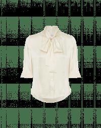SPIRITED: Short sleeve, tie neck top in cream silk satin