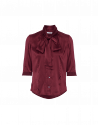 SPIRITED: Short sleeve, tie neck top in burgundy silk satin