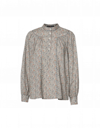 ROMANTIC: Stand collar shirt in fine floral print cotton