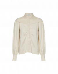 ENTERTAIN: Cream jersey shirt with silk yoke