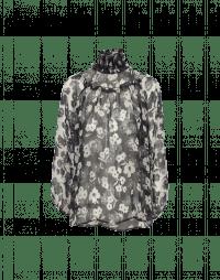 DECEPTION: Camicia a collo alto semitrasparente con motivo floreale