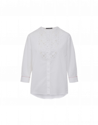 NOON: White shirt with embroidered bib