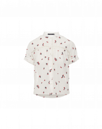JOY: Ivory voile shirt with red floral motifs
