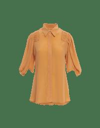 OF-INTEREST: 3/4 sleeve shirt in apricot silk crêpe