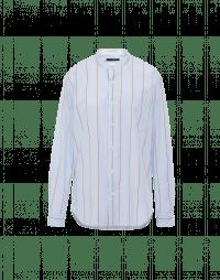 GLEN: Pale blue ivory and tan stripe shirt