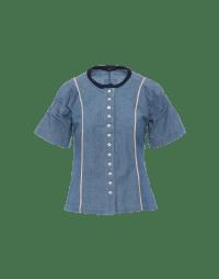 DITTO: Camicia a manica corta in chambray blu
