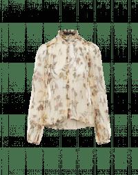 THRIVING: Camicia in chiffon écru con stampa floreale