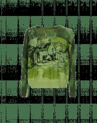 PAINTERLY: Maglia in cotone girocollo con sovra stampa