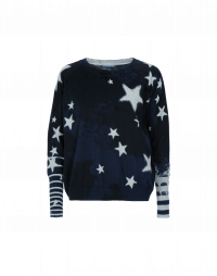SYMBOL: Wide crew neck sweater in pale grey and navy cotton