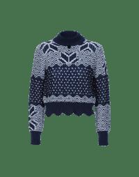 MAGICAL: Blue and white fair isle turtleneck sweater