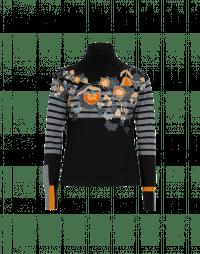 ANIMATE: Maglia nera a collo alto in lana a righe con motivo floreale flock