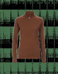OVERCOME: Maglioncino a collo alto in cashmere cammello scuro