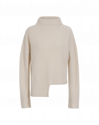 FABLE: Cream funnel neck rib sweater