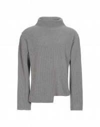 FABLE: Pale grey funnel neck rib sweater