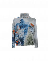 INSPIRING: Soft funnel neck sweater with floral and landscape print